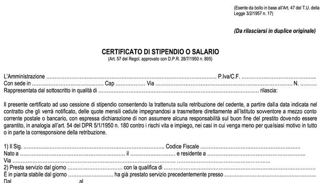 Certificato di stipendio modello fac simile